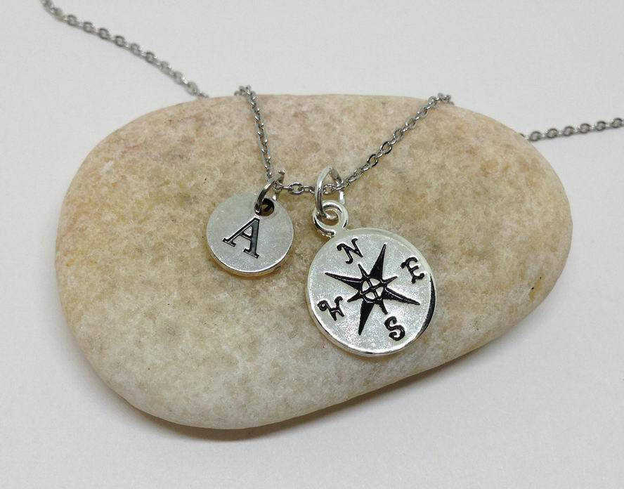 Compass Charm Personalized Necklace
