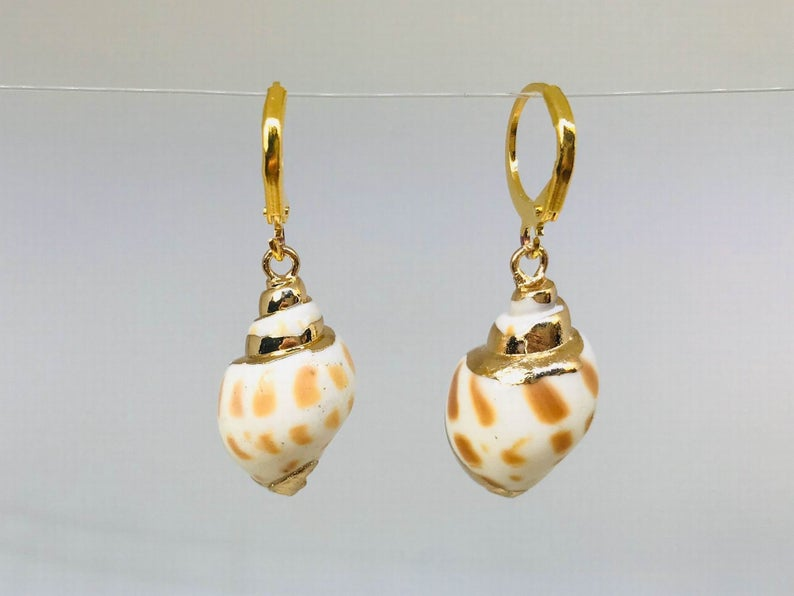 Cowrie Shell Huggie Earrings