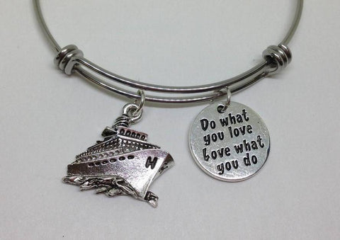 Cruise Do What You Love Dog Bangle Bracelet Hobby Work Wholesale Handmade Stainless Steel