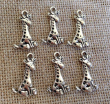 6 Cute Giraffe charm, Baby Giraffe charm, African Animal charm, Safari Animal Charm