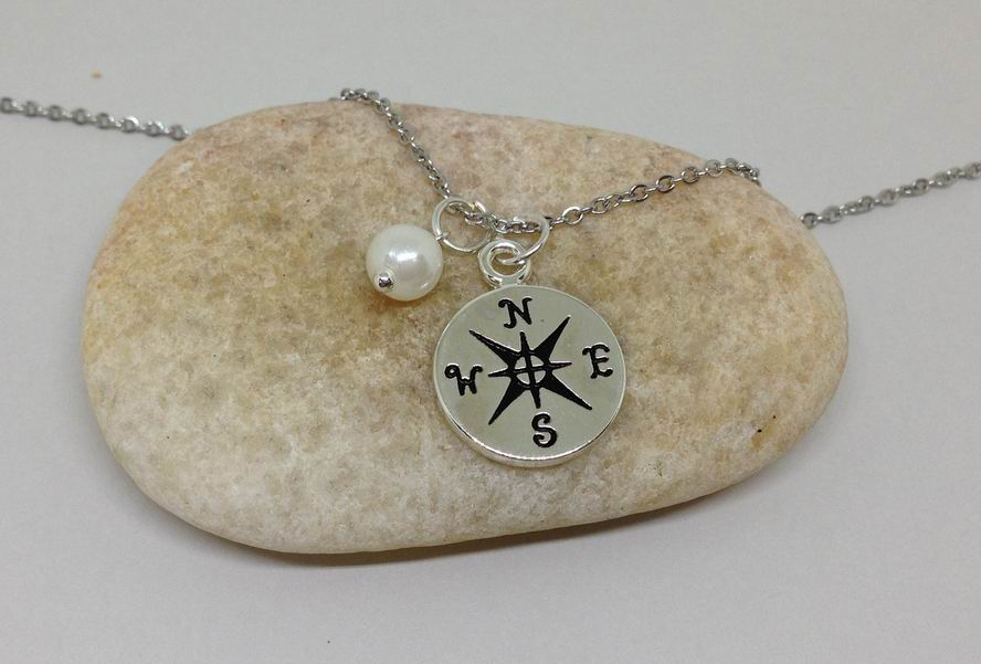 Direction Compass Charm Personalized Necklace