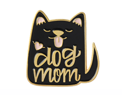 Dog Mom Enamel Pin - Black