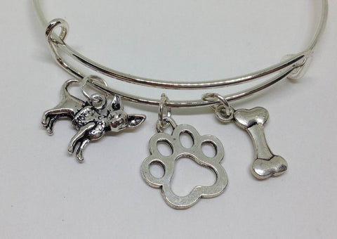 Dog Bangle Bracelet, Dog Paw Jewelry, Dog Bone Bracelet - Wholesale Handmade Jewelry