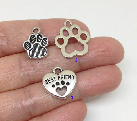 10pcs Dog Paw Charm, Pet Charm