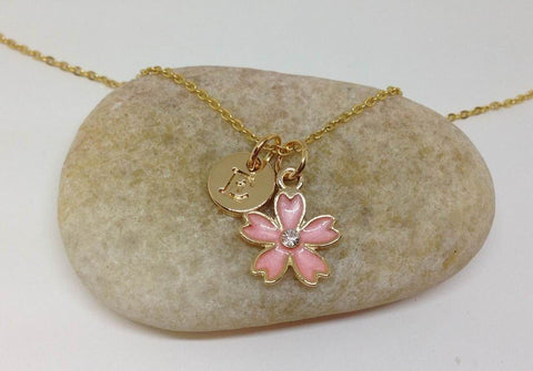 Flower Girl Gold Chain Necklace, White flower