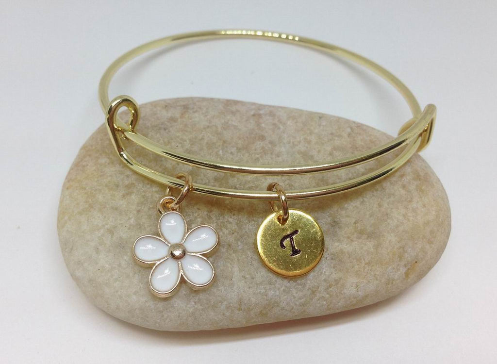 Flower Girl Best Friend Daisy Charm Bangle Bracelet | White color