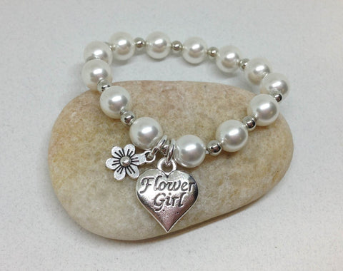 Flower Girl Best Friend Daisy Charm pearl Bracelet