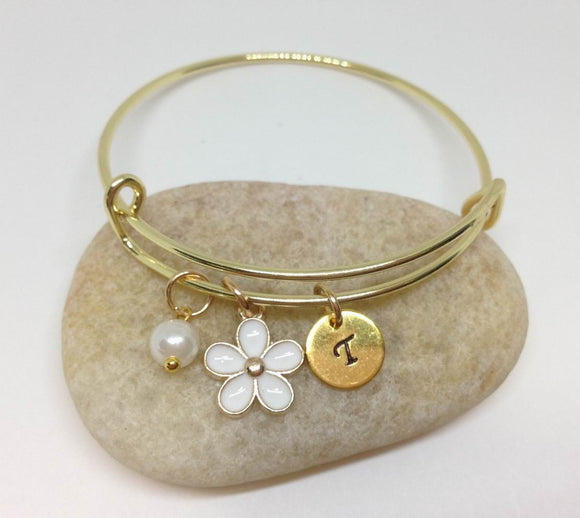 Flower Girl Best Friend Daisy Charm Bangle Bracelet WH