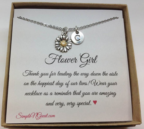 Flower Girl Initial personalized Necklace