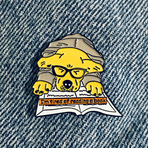 Funny Dog read book Enamel Pin, funny pins