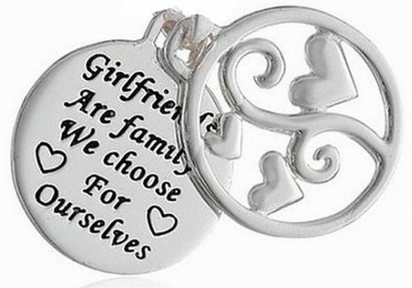6 Girl Friends Are Families We Choose For Ourselves Text Charms Word Message Charm Jewelry findings, Charm for Bracelet, Charms for Necklaces, Wholesale Charms