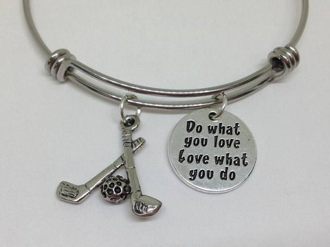 Golfing Do What You Love Dog Bangle Bracelet Hobby Wholesale Handmade Stainless Steel