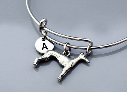 Greyhound Dog Bangle, Greyhound bracelet, silver greyhound, Grey Hound, Expandable bangle, Charm bangle, Monogram, Initial bracelet