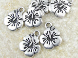 5 Wholesale Hibiscus Flower Pewter Charms