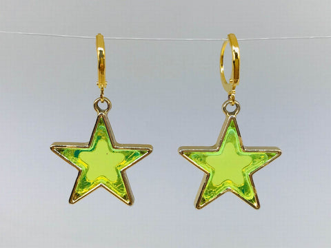 Green Star Earrings, Funky Novelty Earrings
