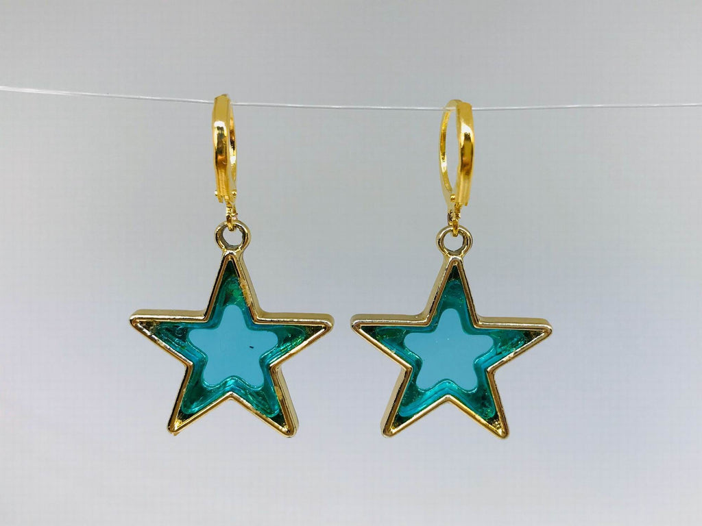 Green Star Earrings, Novelty Earrings