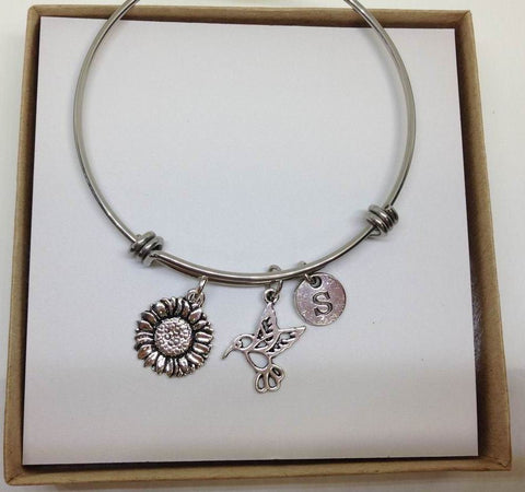 Sunflower Hummingbird Stainless Steel Bangle