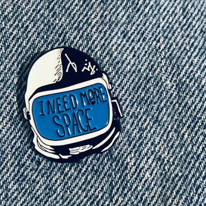 I need More Space Coffee Astronauts enamel pin