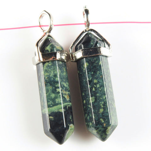 Wholesale kambaba jasper crystal healing hexagonal point pendant focal bead