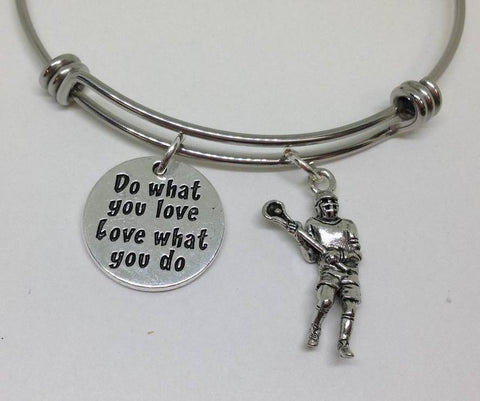 Lacrosse Do What You Love Dog Bangle Bracelet Hobby Wholesale Handmade Stainless Steel Sports