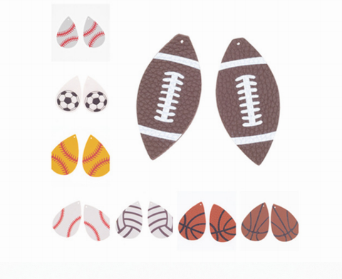 2 Pieces Baseball Softball Basketball Football Leather Earring Findings, Sport Fan