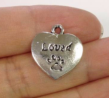 6 Loved Dog Paw Print Charms, Dog Charm, Dog Paw Print Charm Gold or Silver
