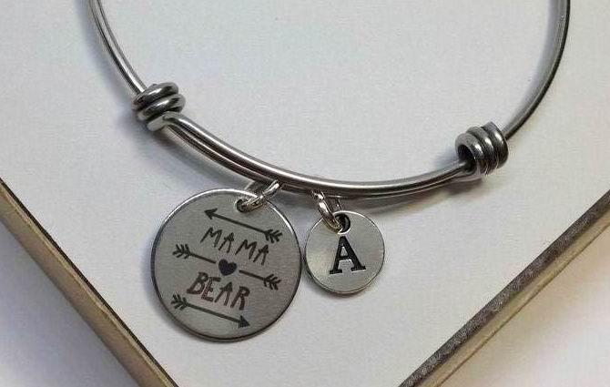 Mama Bear Stainless Steel Charm Bangle
