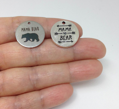 10pcs Mama Bear Charm Mother's Day Mom Stainless Steel