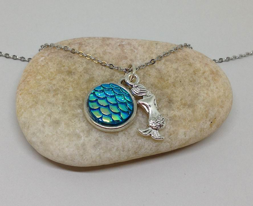 mermaid necklace blue ocean necklace