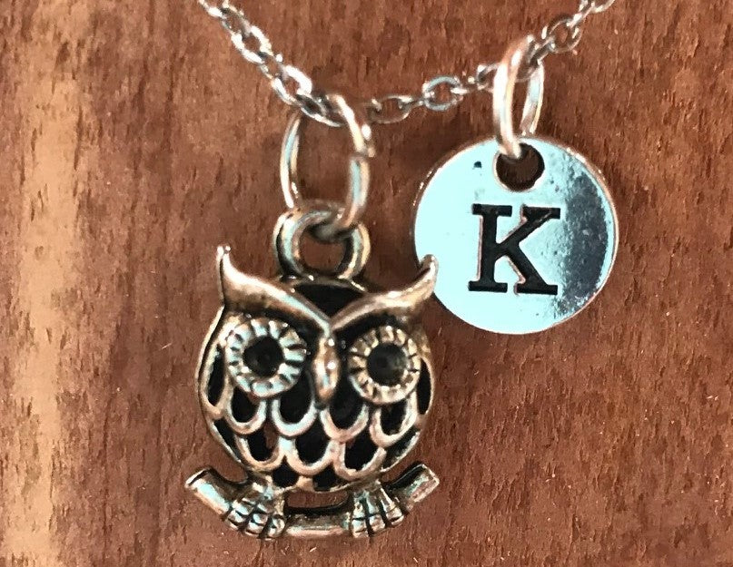Tiny Owl Charm Personalized Necklace