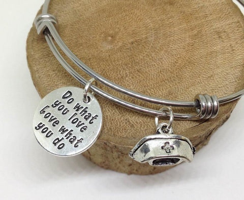 Nurse Do What You Love Dog Bangle Bracelet Hobby Wholesale Handmade Stainless Steel