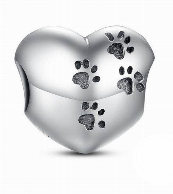 925 Sterling Silver Dog Paw heart Charm