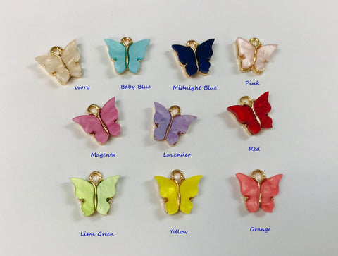 2/4/10 Mariposa Charms, Butterfly Charms, Pearl Butterfly