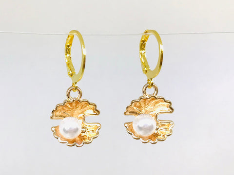 Gold Color Pearl Shell Earrings