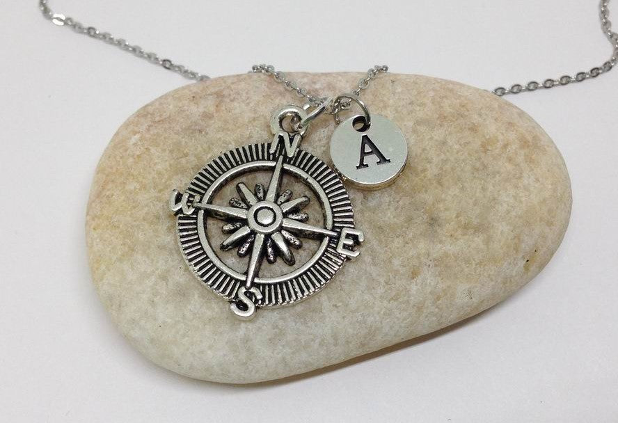 Compass Charm Personalized Initial Necklace