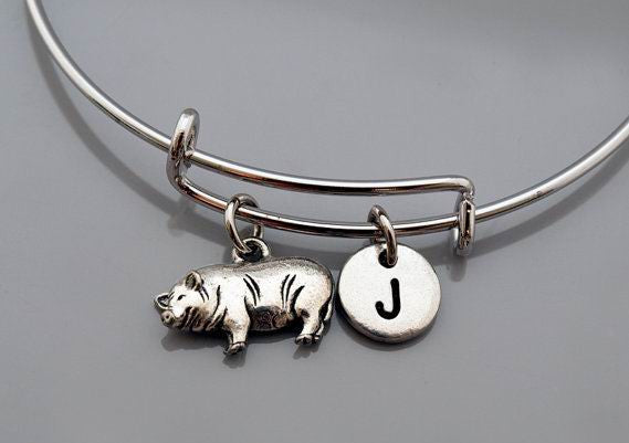 Potbelly pig charm bangle, Potbelly pig bracelet, Pig jewelry, Expandable bangle, Personalized bracelet, Charm bangle, Initial bracelet