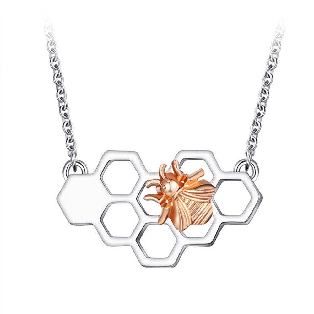 Honeycomb Bee Charm Pendant Necklaces