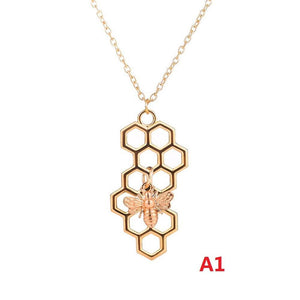 Newest 2019 Nature Jewelry Geometric Hexagon Honeycomb Necklace With Bee Charm