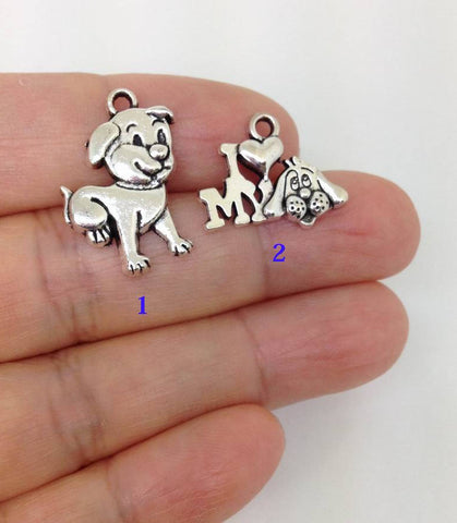 10 Puppy Charms I love My Dog charm wholesale