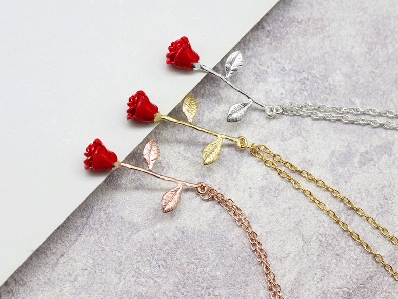 beauty and the beast rose necklace bridesmaid gift