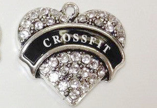 Paved Heart Charm, Paved Heart Cross Fit Charm, Rhinestone Charm, Sport Charm