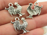 6 Wholesale Rooster Pewter Charms Farm Animals