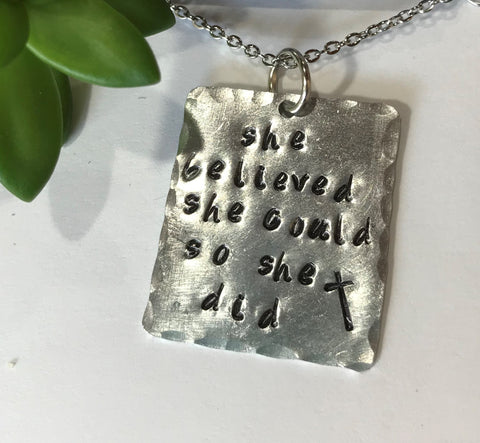 She Believe She could Necklace- Graduation necklace, Best Friend