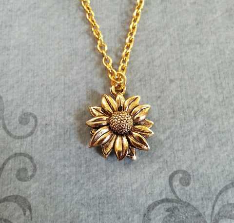 sunflower neclace, bridesmaid gift