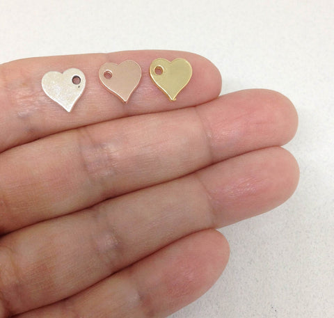 5 Tiny Heart Charms
