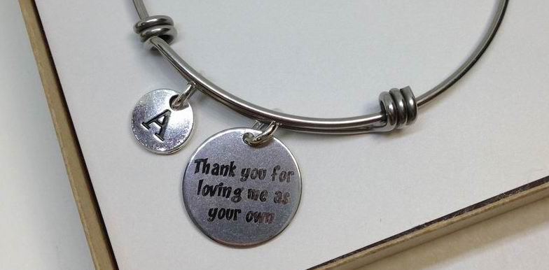 Adoption Stainless Steel Charm Bangle With FREE GIFT BOX