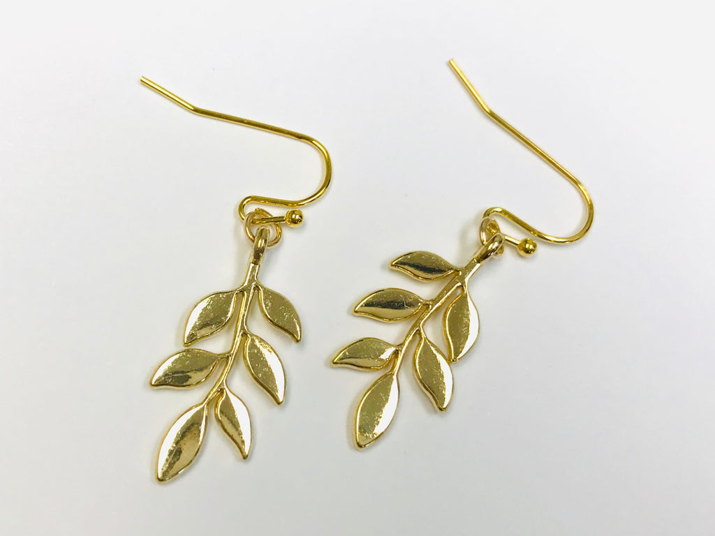 Tiny Gold Leaf Earrings, Plants Jewelry