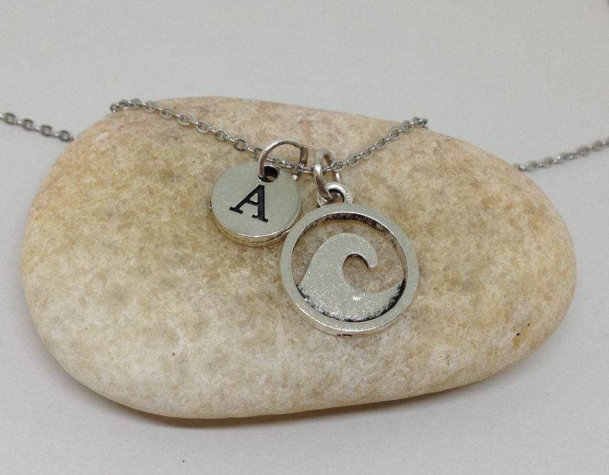 Wave Coastal Charm Personalized Initial Necklace