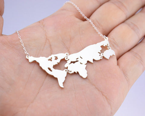 Gold World Map Necklace,Personalized Earth Jewelry