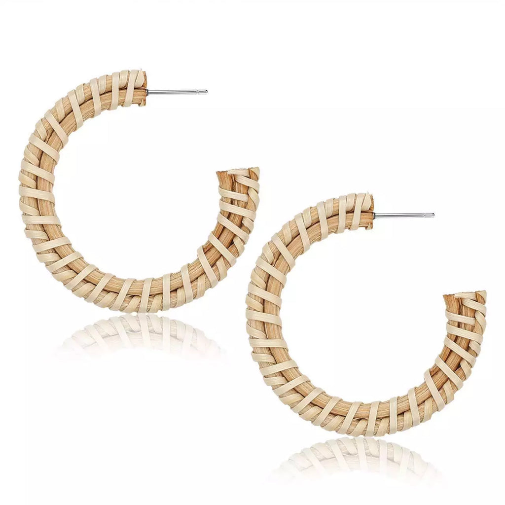 Woven Wicker Hoop Earrings wholesale